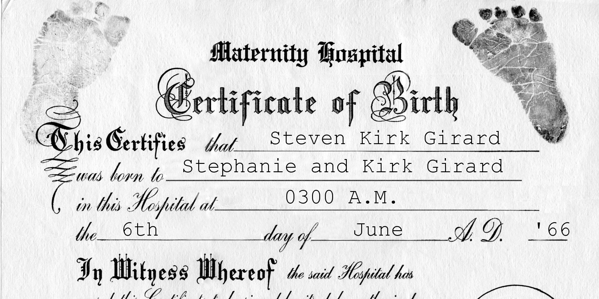 Girardbirth Certificate The Humboldt Consequential