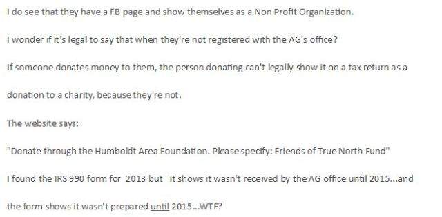 Update True North Organizing An Illegally Run Non Profit In